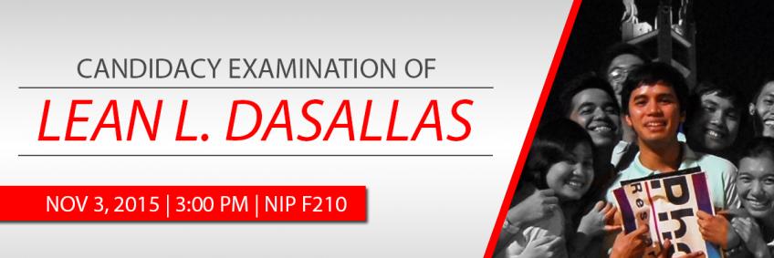Candidacy Examination of Mr. Lean Dasallas